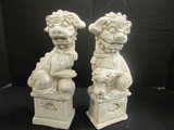 Pair of Plaster Foo Dog Statues