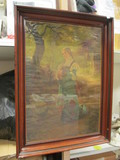 Vintage Framed Print of Strolling Girl by Wagner