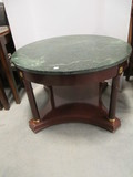 Round Wood Coffee Table with Green Marble Top