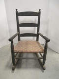 Vintage Painted Black Wood Child's Rocker with Woven Seat