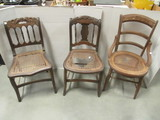 Three Wood Chairs with Cane Bottom