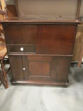Wood Cabinet with Hinged Lid, Divided Drawer, and Door Storage