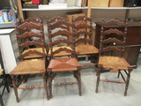 Set of 6 Rush Seat Chairs