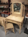 Vintage Wicker Vanity with Mirror and Matching Chair