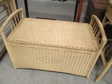 Vintage Wicker Cedar Lined Blanket Chest/Bench