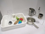 Kitchen Utensils in Plastic Tub - Sifter, Ricer, Etc.
