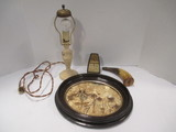 Vintage Items - Humi Temp Weather Station, Cast Metal Lamp, Horn, and