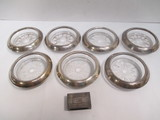 Seven Frank & Whiting Sterling and Clear Glass Coasters and Sterling Silver