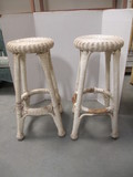 Pair of White Wicker Stools