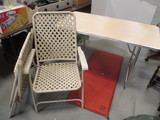 Pair of Aluminum Folding Chairs, Aluminum Folding Camping Table, and