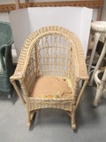 Vintage Wicker Rocker with Metal Spring Seat