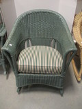 Barrel Back Green Wicker Rocker