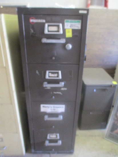 Mosler Fire Proof 4 Drawer File Cabinet (Dark Grey)