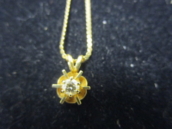 14k Gold Chain w/ Diamond Pendant