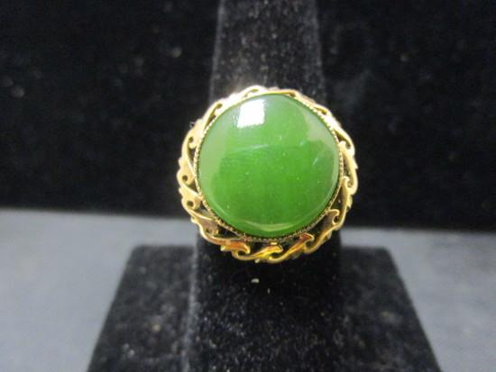 18k Gold Jade Ring- Size 10