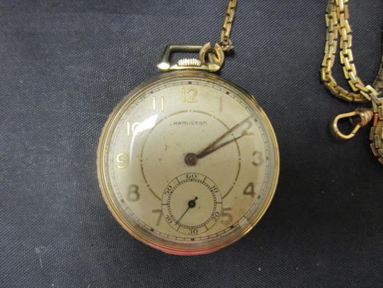 Hamilton 14k Gold Filled Pocketwatch w/ chain