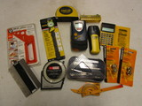 Laser Level, Laser Measurer, Stud Finder, Calipers, Stadler Protractor Set, etc.