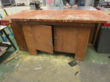 Wood Work Bench/Cabinet with Vise and 2 x 4 Framed Peg Board Section