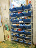 Rolling Bin Organizer Rack and Contents
