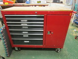 Red Metal Rolling Tool Box with 7 Drawers and 1 Door