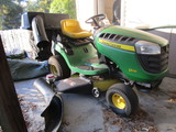 John Deere D110 Yard Tractor with Bagger