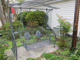 Black Metal Swing Set with Patina