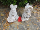 Pair of Henry Studios Concrete Rabbits