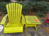 Painted Yellow Wood Adirondack Style Chair and Side Table
