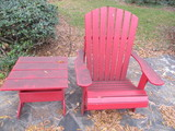 Painted Red Wood Adirondack Style Chair and Side Table