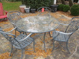 Round Metal Glass Top Table and Four Chairs