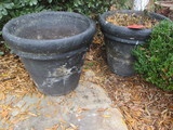 Pair of Large Concrete Planters Painted Black