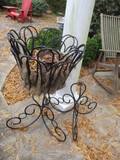 Two Vinyl Coated Metal Pedestal Planter Stands