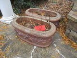 Pair of Large Oval Painted Concrete Planters