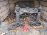 Pair of Cast Iron Andirons, Log Grate and Poker