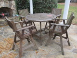 Wood Slat High Top Table and Four Bar Chairs