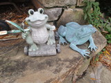 Patina Copper Spitting Frog and Frog on Cart Yard Art
