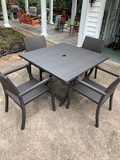 Like New Frontgate Cafe 5-Pc Square Back Chairs and Table Set