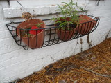Black Vinyl Coated Wire Wall Hanging Planter Basket and Three Flower Pots