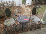 Pair of Wrought Iron Chairs with Painted Wood Seat/Back and Round