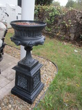 Painted Black Metal Pedestal Planter