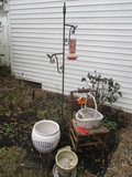 Yard Art-Double Shepherd Hook, Large Ceramic Planter, Metal Stand, etc.