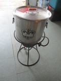 Propane Cooker, Stock Pot, Seafood Basket and Glove