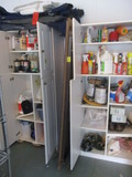Contents of Two Storage Cabinets-House Hold Chemicals, Fuels, Cleaning Items, etc.
