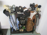 Sports Organizer Rack Filled with Golf Equipment