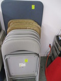 (4)Meco and (4) Samsonite Metal Folding Cushioned Chairs and 2' x 4'