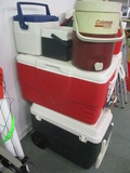 Five Coleman Coolers-(1)Rolling, (1)Jug Cooler,(2)Lunch Mates and (1)Igloo 74