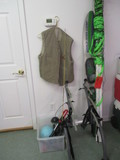 Outdoor Sports Lot-Bike Racks, Coleman Lantern Light, Carhartt Vest, Fishing Pole,
