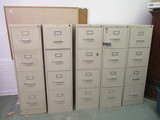 Five Metal File Cabinets, Oak Frame Message Board and Aluminum Frame White Board