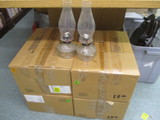 Four Cases of New Glass Lamp Chimneys and Two Oil Lamps