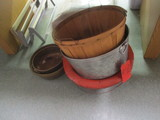 Two Copper Pots and Three Large Pail/Planters